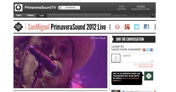 Primavera Sound 2012 en vivo por YouTube 1