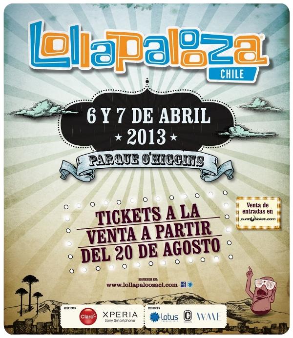 Lollapalooza Chile 2013: 6 y 7 de abril, Parque O'Higgins 1