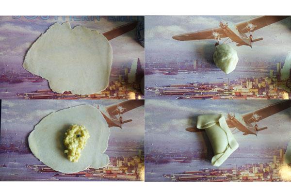 Empanadas de pastelera, cebolla caramelizada y albahaca 1