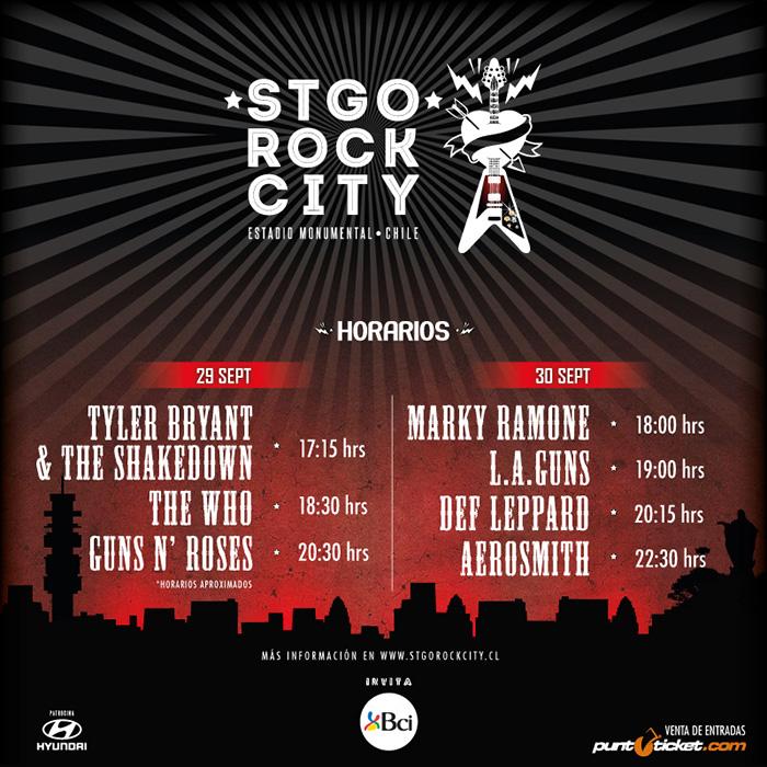 Conoce los horarios confirmados para el festival Stgo Rock City 1