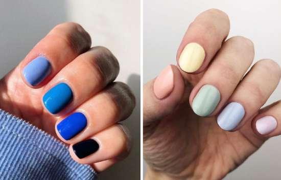uñas de diferente color
