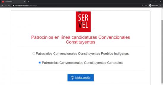 Primer paso para patrocinar constituyente en Servel