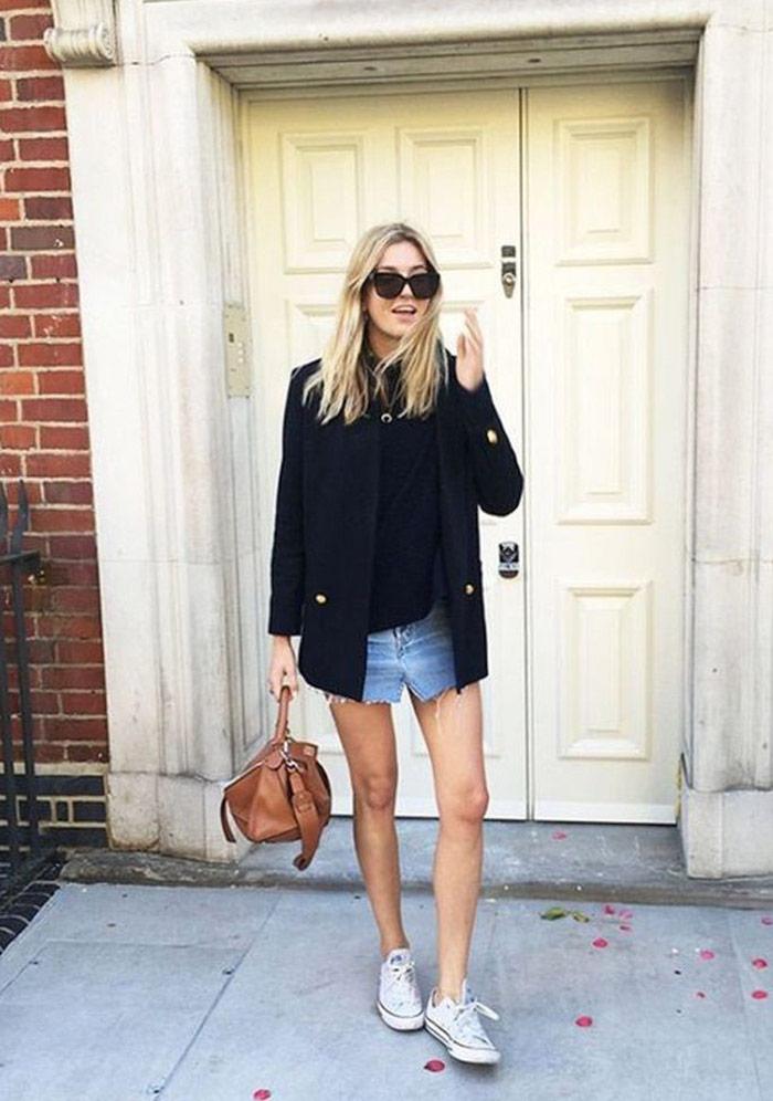 Blazer y mini de jeans