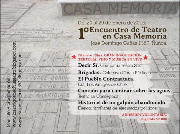 1er Encuentro de Teatro en Casa Memoria 1