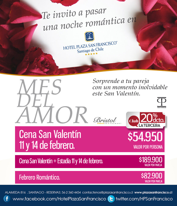 San Valentín en Hotel Plaza San Francisco 1