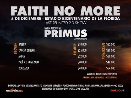 Las entradas para el concierto de despedida de la gira de Faith No More 1