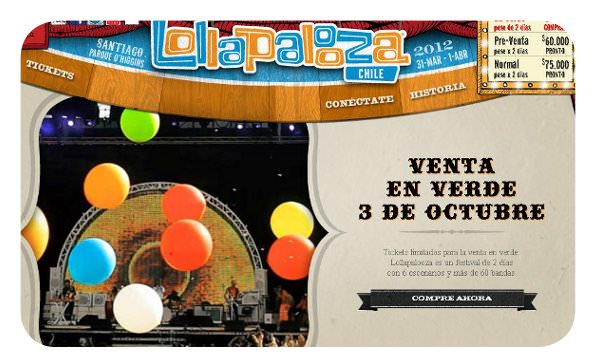 Lollapalooza 2012: abonos a 30 lucas 1