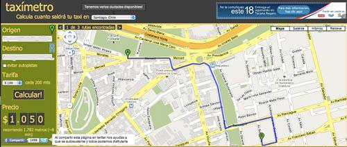 Taximetro.cl, calcula tu viaje en taxi 1